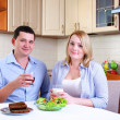 Royalty-Free Stock Photo: Wife and husband have breakfast