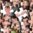 Puzzle from different human faces — Stock Photo
