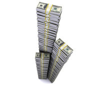 Large stack of hundred-dollar bundles — Stock Photo