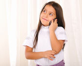 Little girl excitedly chatting — Stock Photo