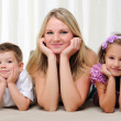 Stock Photo: Young mother, her daughter and son