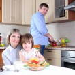 Family has breakfast in the kitchen — Stock Photo #4476072