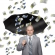 Bald young businessman with banknotes — Stock Photo #4476912