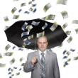 Bald young businessman with banknotes — Stock Photo