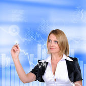 Working Girl drawing color graphics — Stock Photo