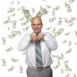 Bald young businessman with banknotes — Stock Photo #4488075