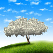 Tree of dollar bills - Stock Photo