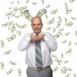 Bald young businessman with banknotes — Stock Photo #4504857