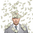 Bald young businessman with banknotes — Stock Photo #4504874