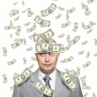 Royalty-Free Stock Photo: Bald young businessman with banknotes