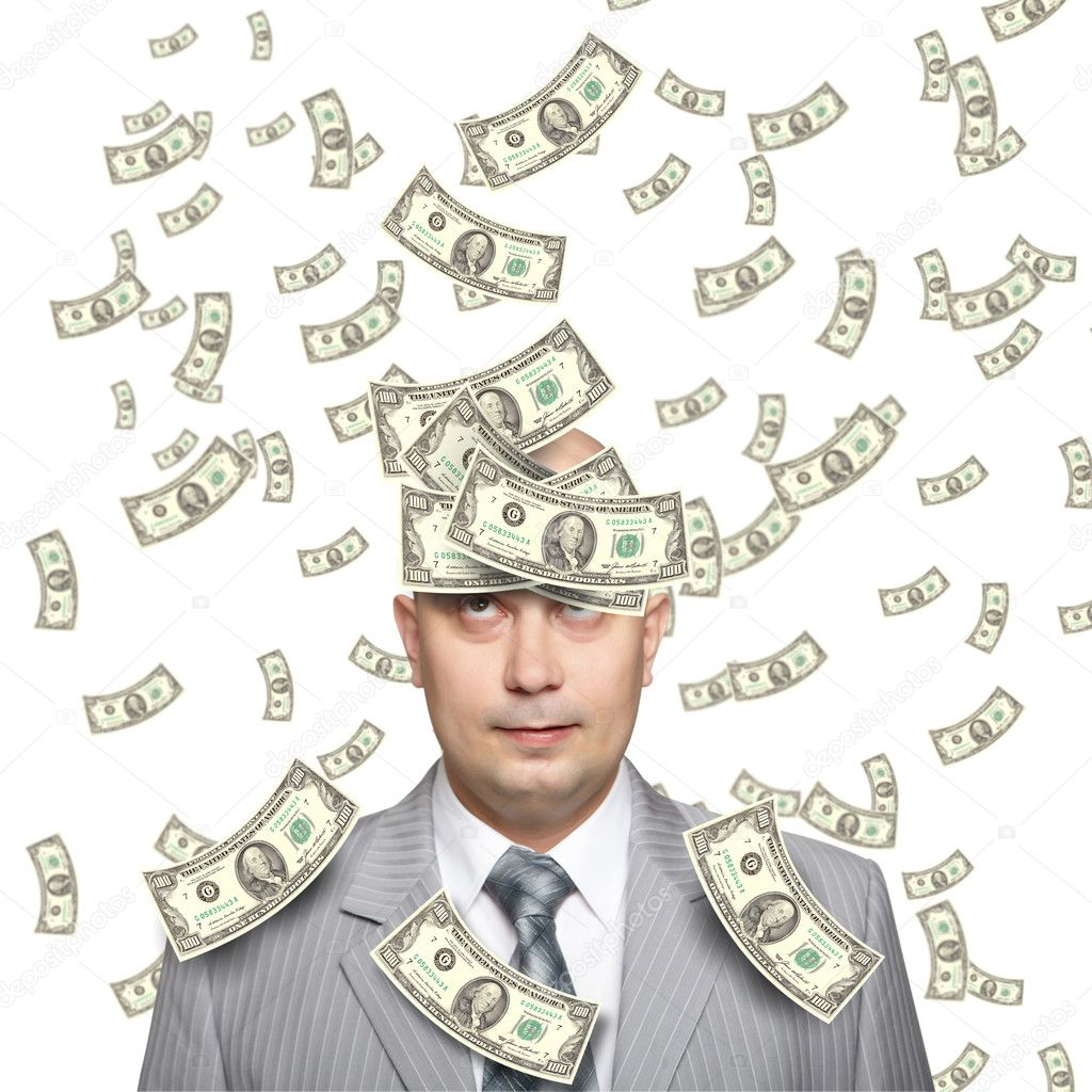 Bald young businessman with banknotes. Funny business image. — Stock Photo #4504874