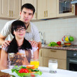 Young couple at breakfast - Foto Stock