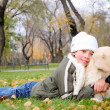Boy playing in autumn park - Foto de Stock  