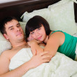 Stock Photo: Young couple had just woken up