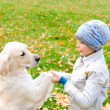 Boy playing in autumn park — Stock Photo #4515223
