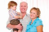 Grandmother, grandfather and grandson — Stock Photo