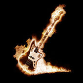 Electronic guitar enveloped flames — Stock Photo
