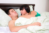 Young couple had just woken up — Stock Photo
