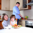 Royalty-Free Stock Photo: Family has breakfast in the kitchen