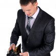 Business man looking at his empty wallet — Stock Photo