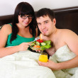 Young couple at breakfast — Stock Photo #4522441