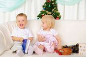 Two small children - a boy and girl — Stock Photo
