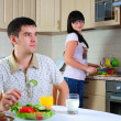 Young couple at breakfast - Foto de Stock