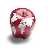 Image of the Earth caused by apple — Stock Photo