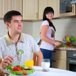 Young couple at breakfast — Stock Photo #4540015