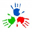 Handprints in different colors — Stock Photo #4548268