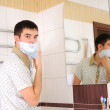 Young man shaving in the morning — Stock Photo #4548365