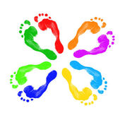 Footprints of different colors — Stock Photo