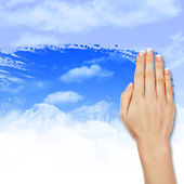 Hand wipes misted window — Stock Photo