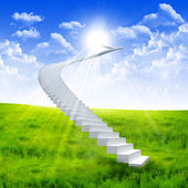 White ladder extending to a bright sky — Stock Photo