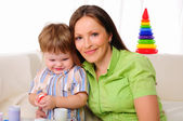 Mom and son having fun together — Stock Photo