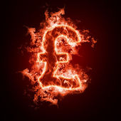 Money symbol open arms fire — Stock Photo