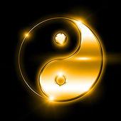 Symbol jin a jang na pozadí. — Stock fotografie