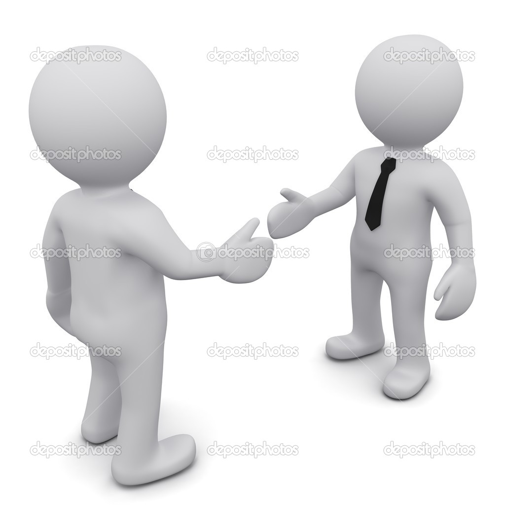 Two 3D business man in ties shake hands on a white background  Stock Photo #4549914