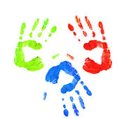 Handprints in different colors — Stock Photo