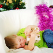 Royalty-Free Stock Photo: Little boy fell a sleep on the couch