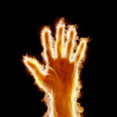 Human hand open arms fire — 图库照片