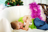 Little boy fell a sleep on the couch — Stok fotoğraf