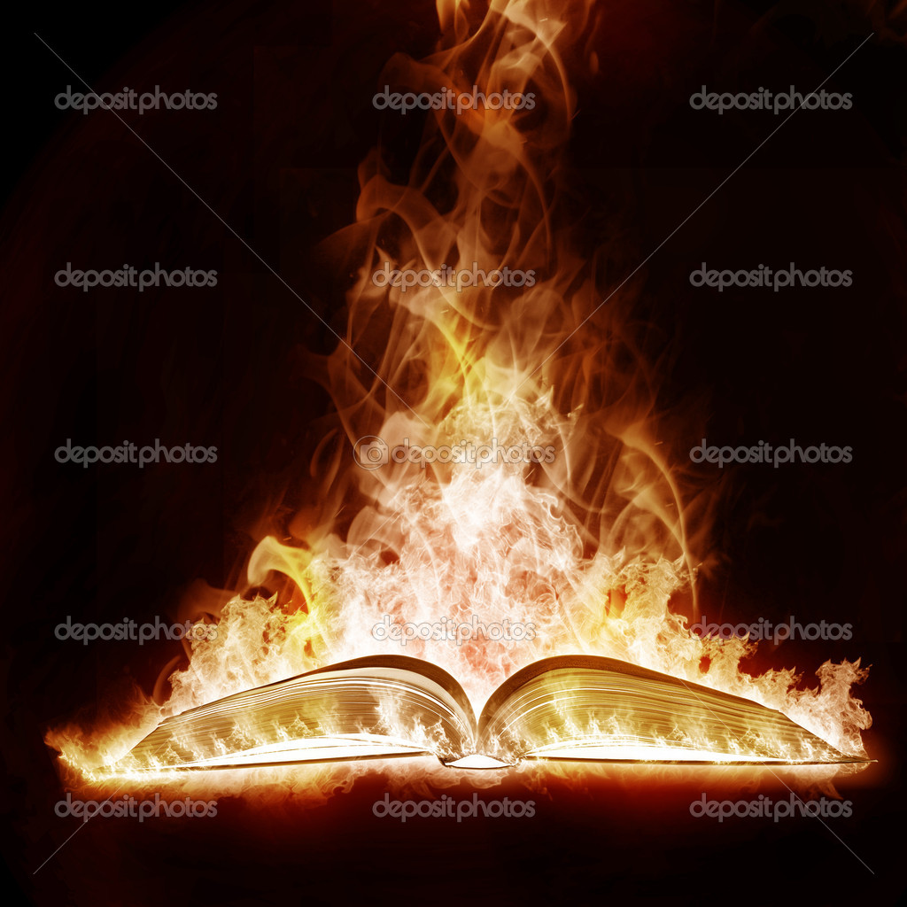 Mysterious Book open arms fire