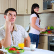 Young couple at breakfast — Stock Photo #4574727