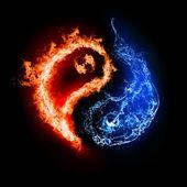 Symbol yin i yang w tle. — Zdjęcie stockowe