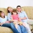 Mom, Dad and their two daughters — Stock Photo