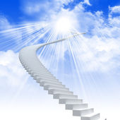 White ladder extending to a bright sky — 图库照片