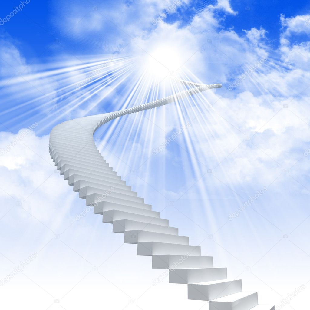 White ladder extending to a bright sky against a background of green grass. Symbol of the road to heaven — Stock Photo #4592027