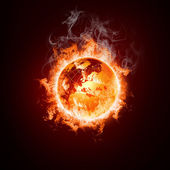 Earth open arms fire — Stock Photo