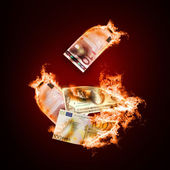 Banknotes open arms fire — Photo